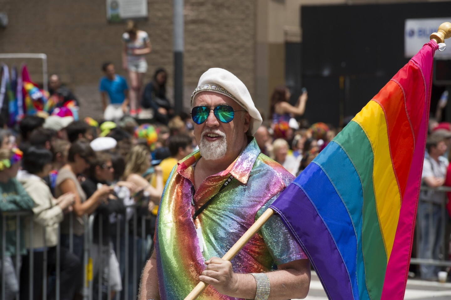 Pride rainbow flag creator Gilbert Baker marches during the 2015 San Francisco Pride Parade on June 28, 2015 in San Francisco, California. | Photo: Arun Nevader/Wire Image