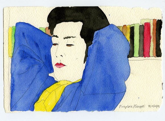 Mr. Bonzai, quot;Fireplace/Grapelliquot; 1989, Pencil and Watercolor on Paper