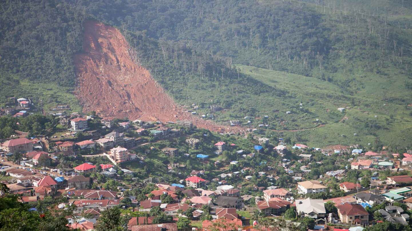 A mudslide in Freetown, Sierra Leone killed an estimated 1,000 people. | Nicky Milne/Thomson Reuters Foundation