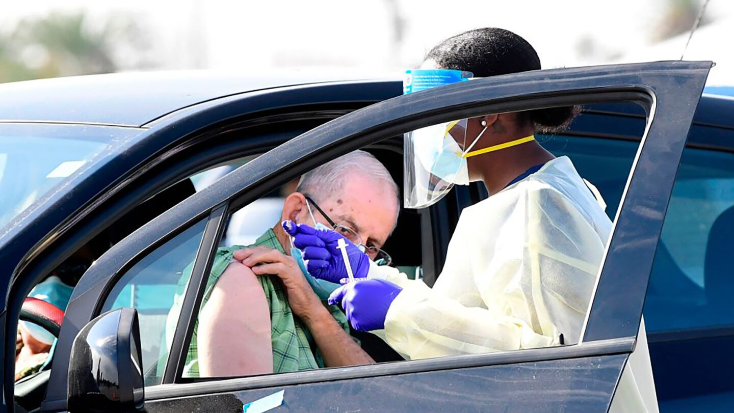 People pull up in their vehicles for Covid-19 vaccines in the parking lot of The Forum in Inglewood, California
