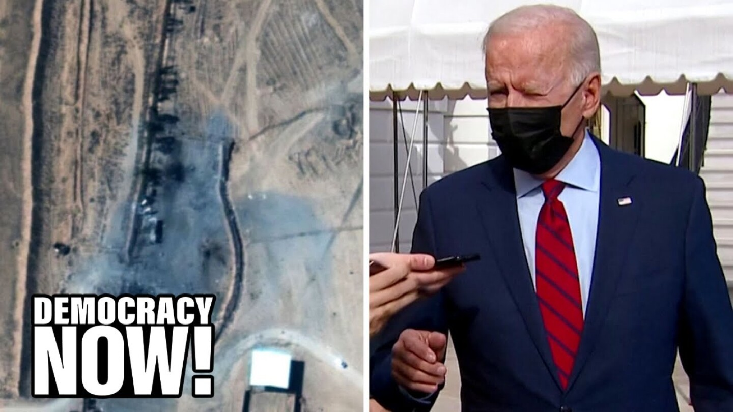 Split image of a top-down view of an area in Syria (left) and President Joe Biden (right).