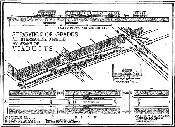 The 1924 Major Traffic Street Plan proposed a parkway along the Arroyo Seco and included an appendix on grade-separation. Courtesy of Metro Transportation Library and Archive.