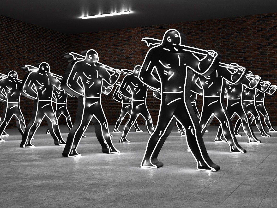 """Lisa Schulte and Cleon Peterson, """"Warrior: Army Triangle,"""" 2015."""