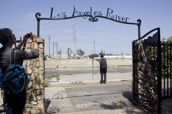 The Los Angeles River sign at Maywood Riverside Park.