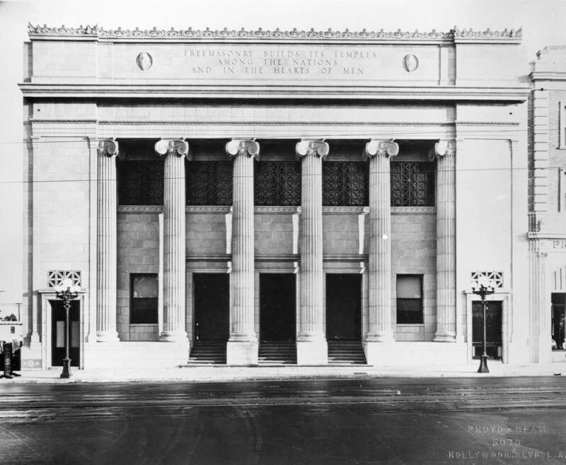 Exterior of the Hollywood Masonic Temple in 1922. | Security Pacific National Bank Collection of the Los Angeles Public Library