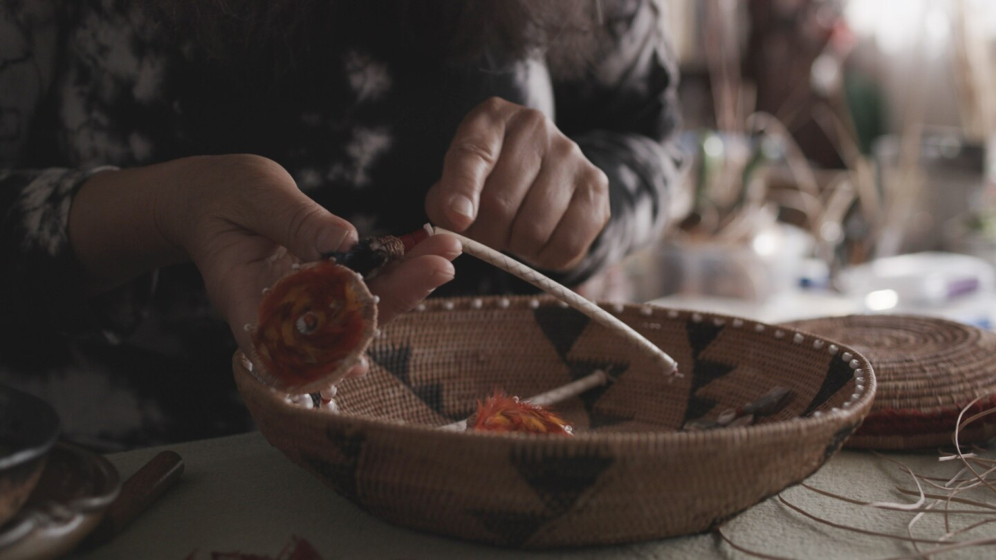 "Basket woven by Linda Yamane | Still from Artbound ""Art of Basket Weaving"" AB s9"