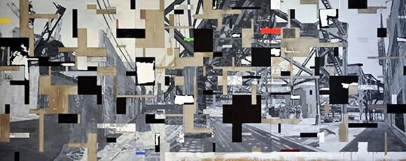 "Miha Åtrukelj's triptych, ""The City"""