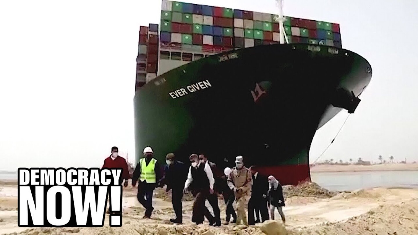 The massive cargo ship Ever Given wedged in the Suez Canal.