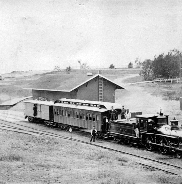 A barn served as the Los Angeles and Independence's Santa Monica station in the railroad's early years. Courtesy of the Photo Collection, Los Angeles Public Library.