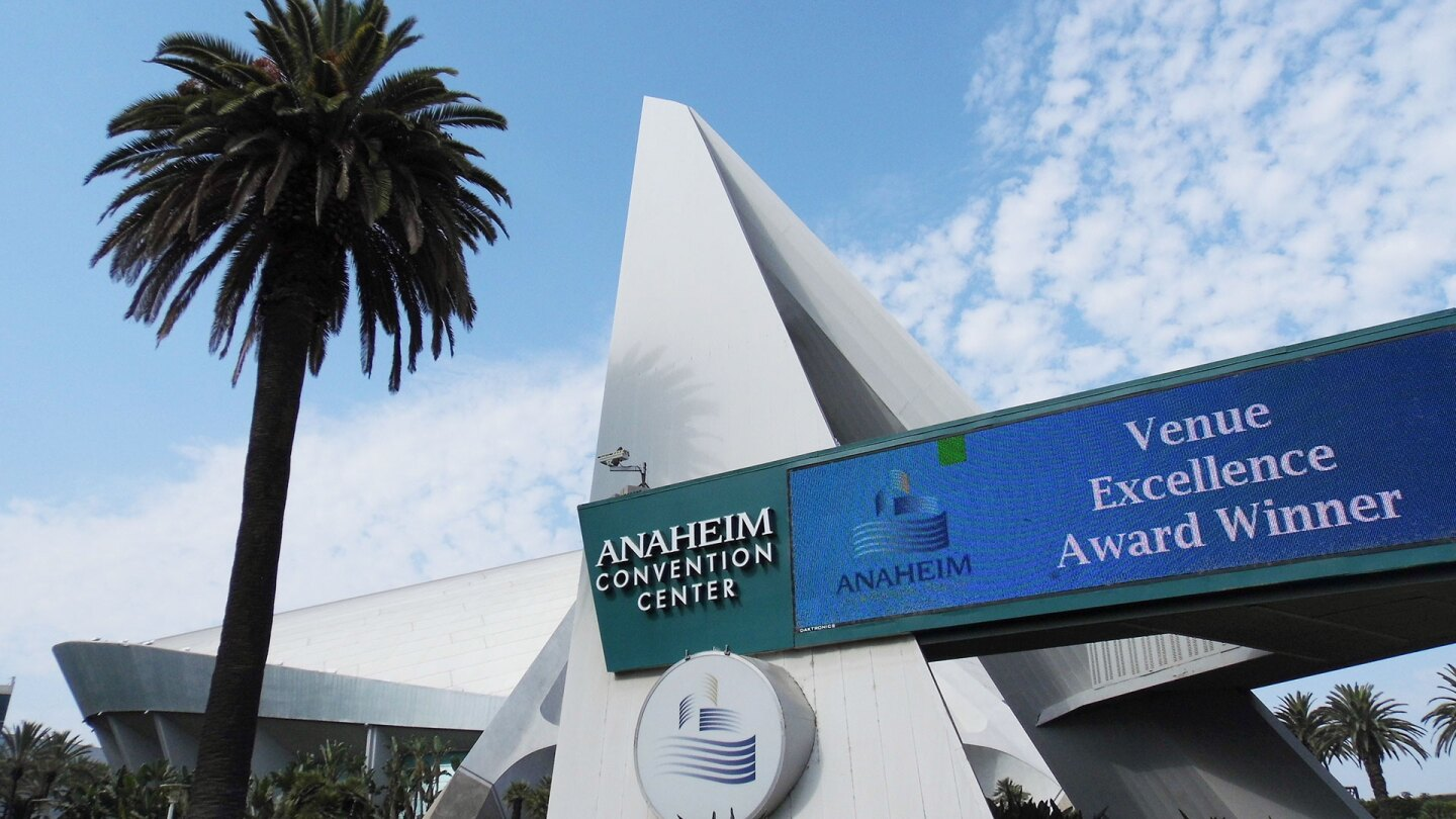 """The Anaheim Arena displays an """"Venue Excellence Award Winner"""" banner outside the arena."""