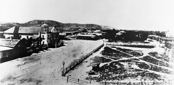 Pre-1869 view of the Los Angeles Plaza. Courtesy of the California Historical Society Collection, USC Libraries.