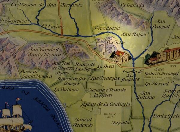 Rancho Los Feliz encompassed prime territory near the pueblo and along the Los Angeles River. Courtesy of the Library of Congress, via Big Map Blog.