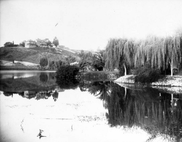 An early view of Echo Park Lake. Courtesy of the USC Libraries - California Historical Society Collection.
