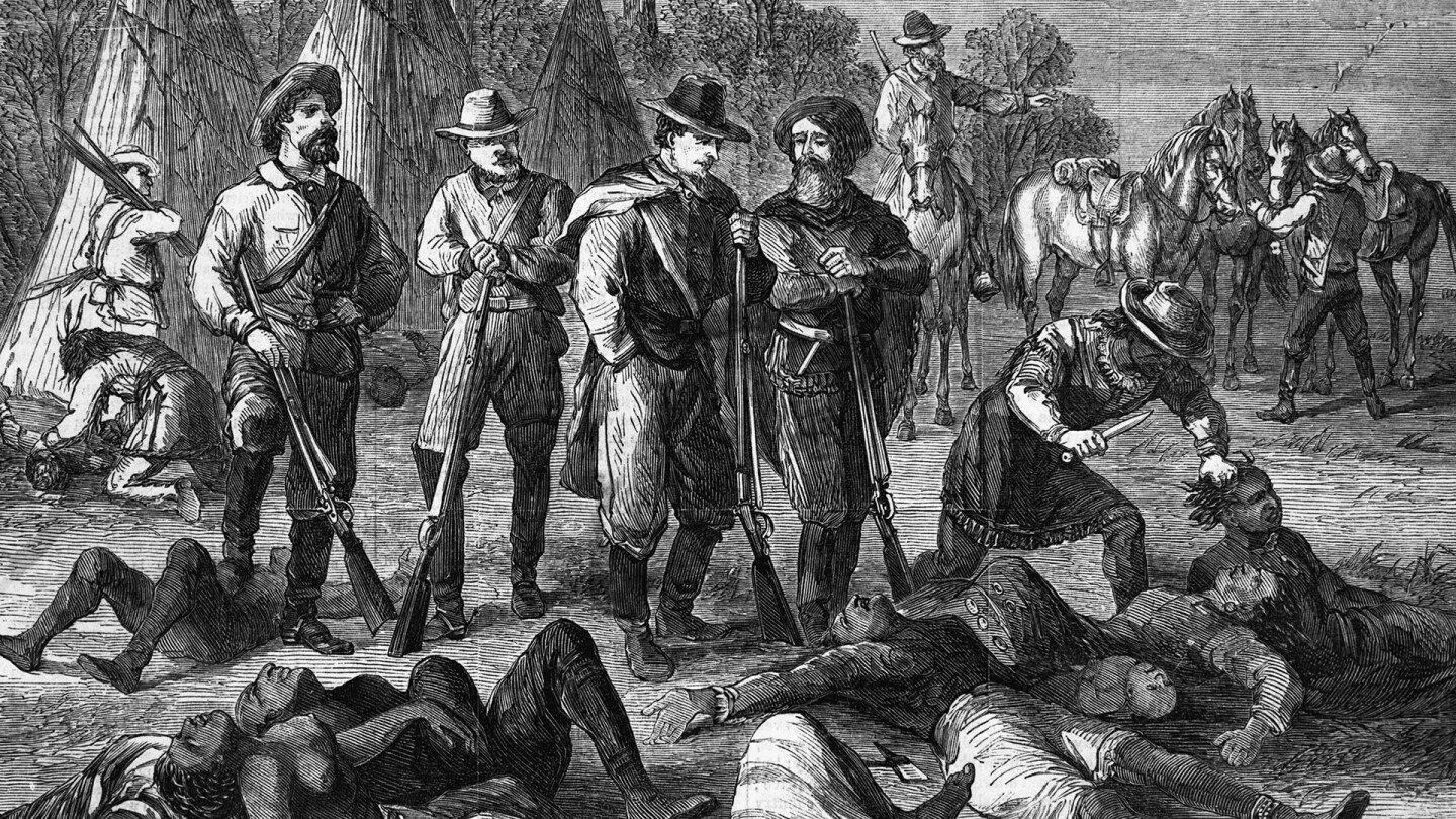Enlightened Christian warfare in the 19th century. Massacre of Indian women and children in Idaho by white scouts and their red allies. Engraving, 1868. | Getty Images