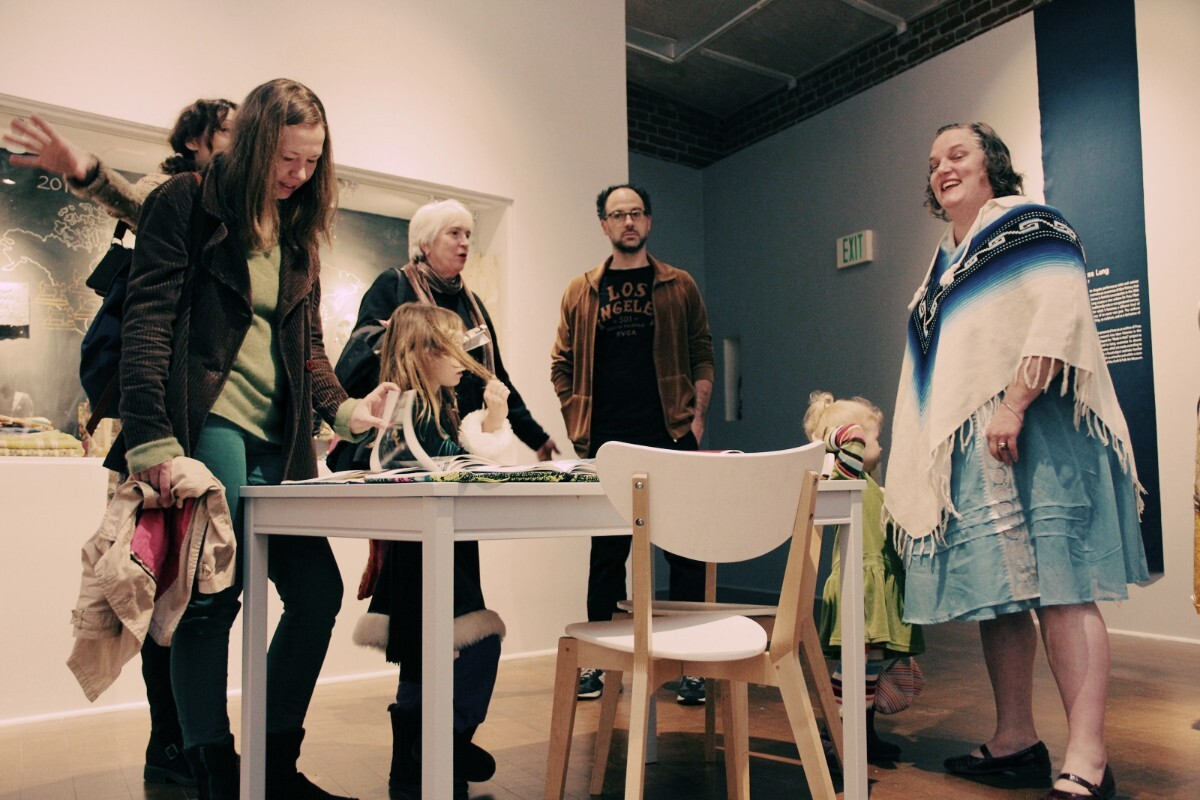 Frau Fiber's lookbook table. Social Fabric exhibition   Craft and Folk Art Museum, 2013
