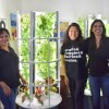 Tower Garden: Sierra Madre Middle School teacher, Gina Davis (left) with Sue Clark (middle), owner of a Tower Garden franchise in Los Angeles.