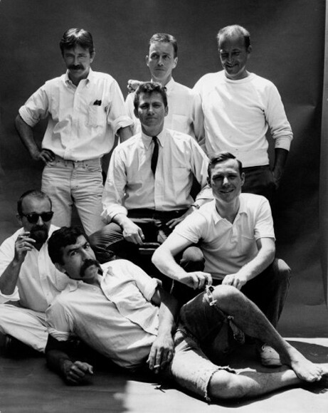 The Cool School crew: Robert Irwin, Ed Moses, Craig Kauffman, Ken Price, Billy Al Bengston, Larry Bell, Ed Kienholz.