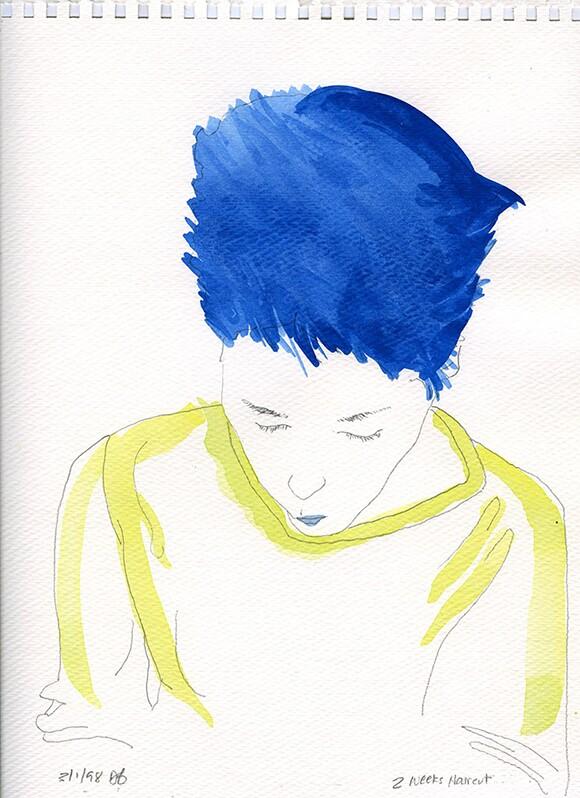 "Mr. Bonzai  ""@ Weeks Haircut,"" 12"" x 9""  Pencil, Watercolor on Paper"