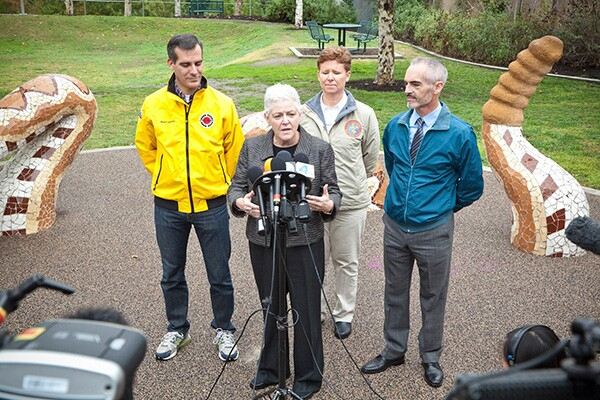 Mayor Eric Garcetti, EPA Administrator Gina McCarthy, and Councilmember Mitch O'Farrell. Photo courtesy of Grove Pashley.