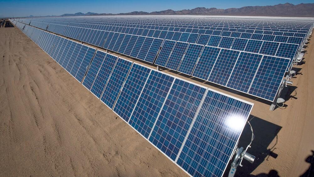 Solar panels in the California desert   Photo: Bureau of Land Management