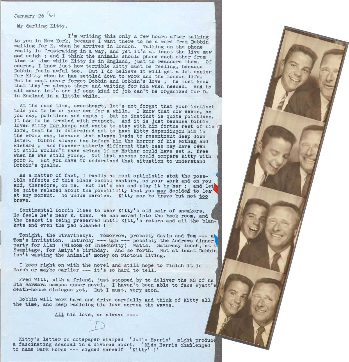 Christopher Isherwood's letter to Don Bachardy dated January 26, 1961 and photo booth photos of Don Bachardy and Christopher Isherwood dated March 30, 1953   The Huntington Library, Art Museum, and Botanical Gardens