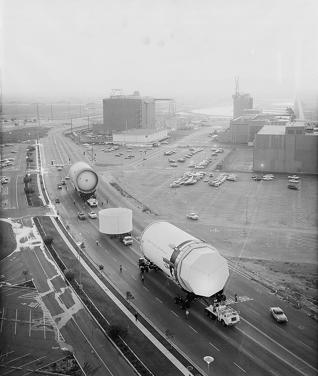Parts of Saturn V's second rocket stage, North American Rockwell's S-II, being trucked along Seal Beach Boulevard. | Courtesy of SealBeachHistory.com