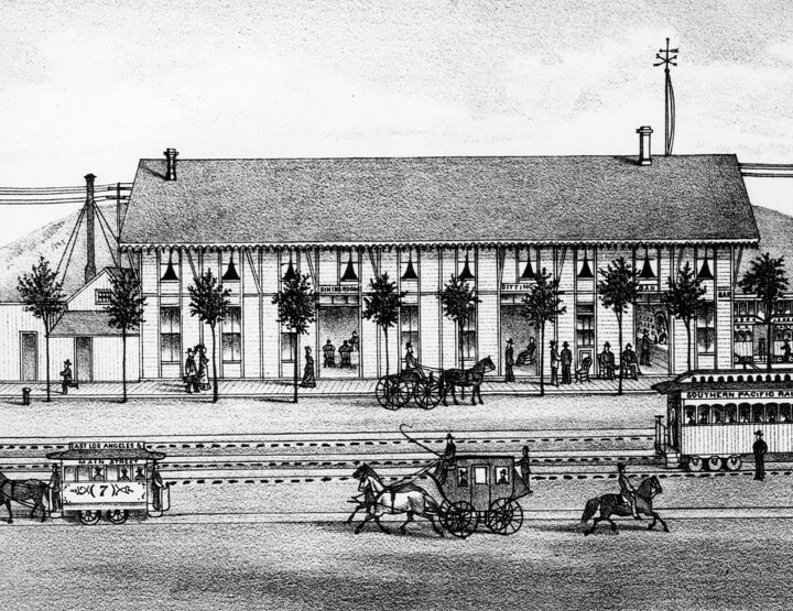 1880 drawing of the Pacific Hotel next to the Southern Pacific depot, showing an East Los Angeles-bound streetcar. Courtesy of the Photo Collection, Los Angeles Public Library.