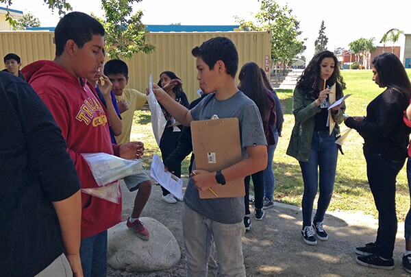 Durfee students prepare to collect environmental data for Operation Tree Canapy