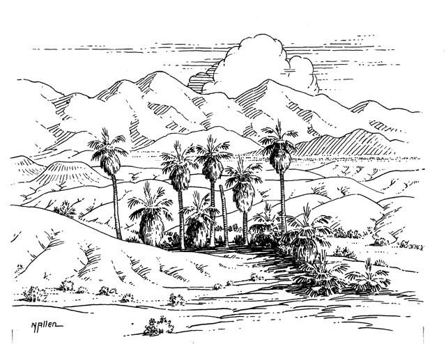Norton Allen's drawing of Seven Palms near Desert Hot Springs.  | Courtesy of Ethel Allen