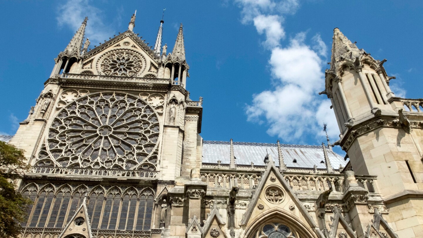 "Upward shot of the Notre Dame Cathedral in Paris, France. | ""Secrets of the Dead: Building Notre Dame"""