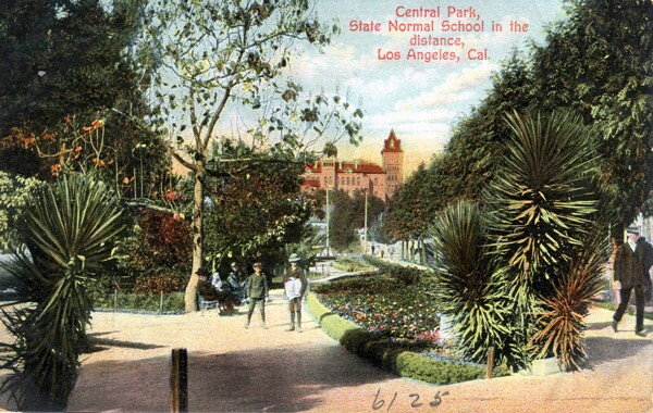 Circa 1908 postcard of Central Park. Courtesy of the Werner Von Boltenstern Postcard Collection, Department of Archives and Special Collections, William H. Hannon Library, Loyola Marymount University.