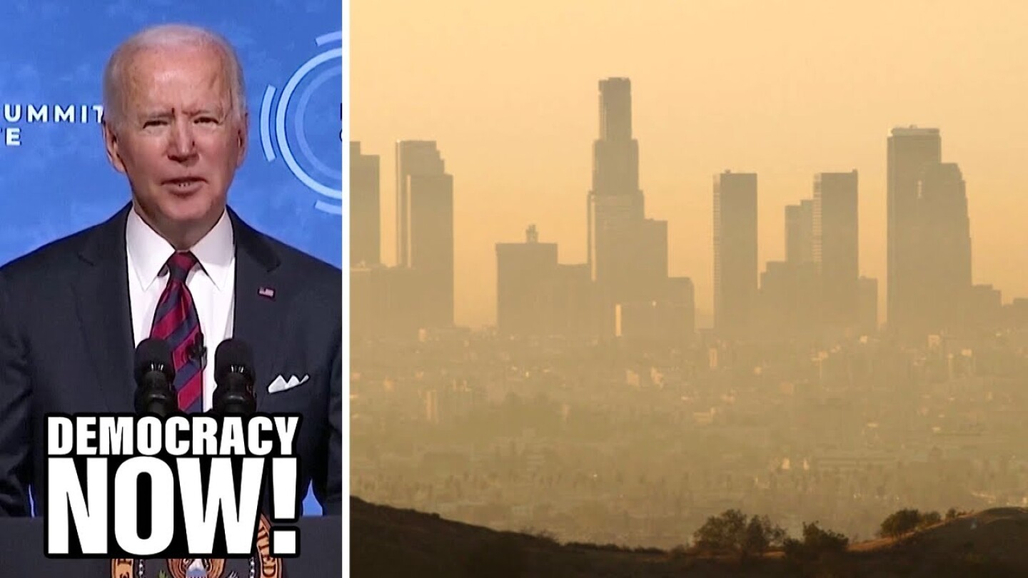 Image of President Biden and a smoggy city skyline.