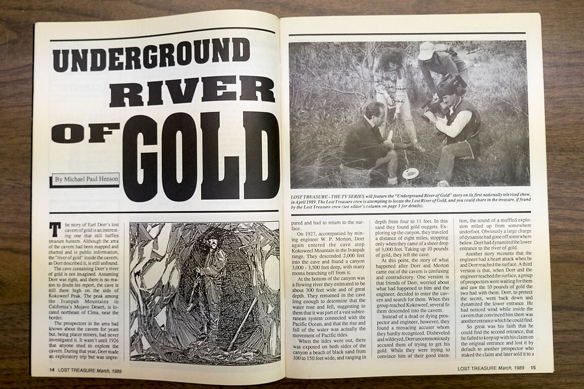 """Lost Treasures 1989 """"Underground River of Gold"""" is one of many treasure hunting articles peddling the infamous Dorr legend. 
