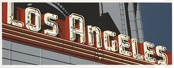 """""""The Los Angeles (II)"""" by Dave Lefner, 2009, Reduction linocut in 8 colors, Edition of 10, 13"""" x 36""""   Courtesy of the artist and Skidmore Contemporary Art"""