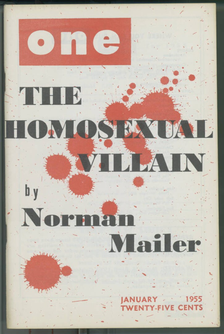 """Cover of One magazine featuring """"The homosexual villain"""" by Norman Mailer, 1955. 