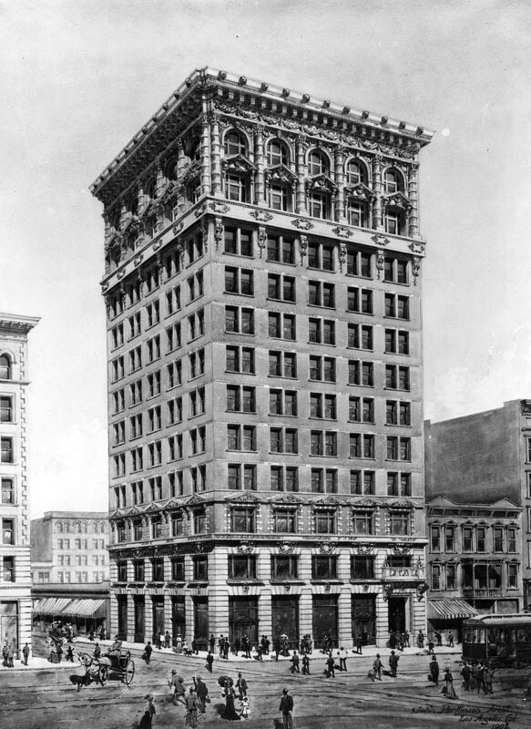 1902 artist's rendering of the Braly Block, L.A.'s first skyscraper. Courtesy of the Photo Collection, Los Angeles Public Library.