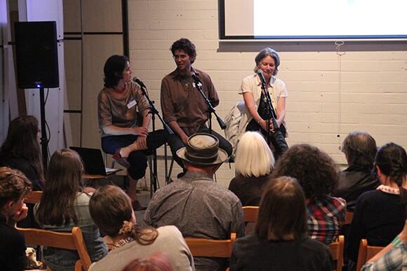 Julia Meltzer, Michael Parker and Jenny Price in conversation   Photo: Emma Sheffer