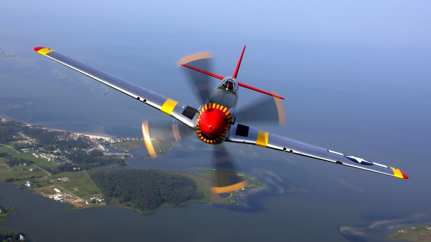 P-51 Mustang in flight during an air show at Langley Air Force Base, in Virginia. | Wikimedia Commons/ U.S. Air Force