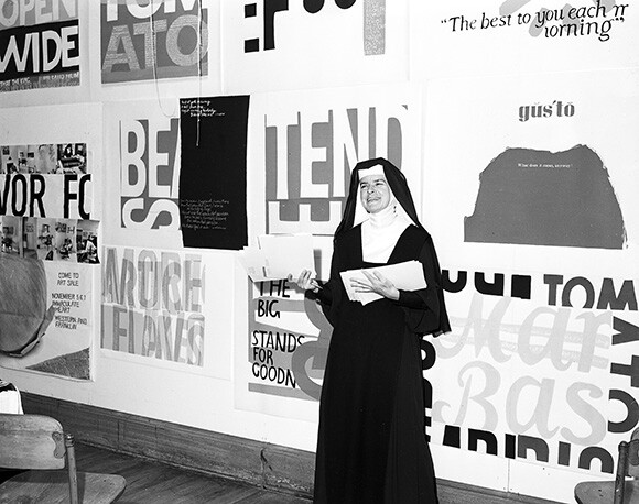Corita, Immaculate Heart College, Los Angeles, 1964. | Courtesy of the Corita Art Center, Los Angeles.