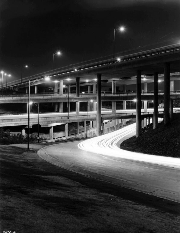 The Four Level carrying traffic in all eight directions shortly after its 1953 opening. Courtesy of Caltrans.