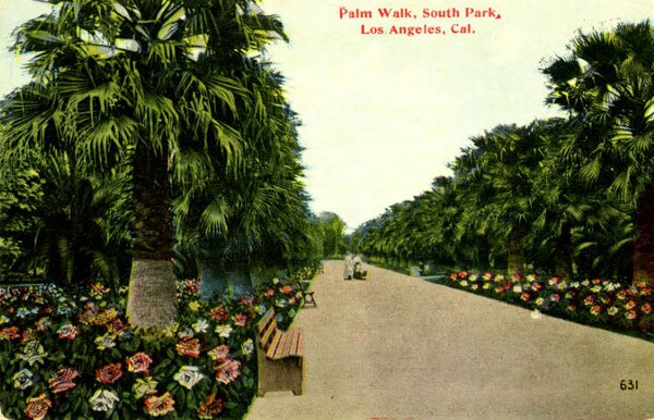 South Park's palm-lined avenue, still intact today, was long its chief attraction. Circa 1910s postcard courtesy of the South Bay History Collection, CSUDH Archives.