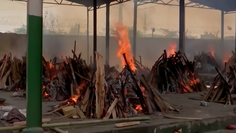 Crematory bonfires in India.