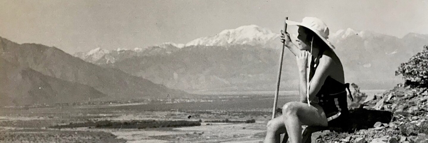 A hiker surveys Cathedral City village in the 1940s.  | Cathedral City Historical Society.