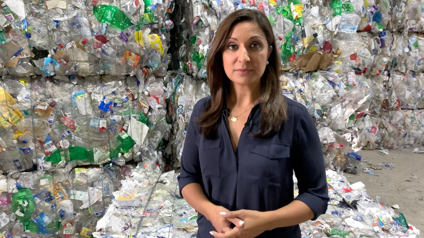 """Host of PBS NewsHour's """"The Plastic Problem stands in front of a wall of compressed plastic goods."""