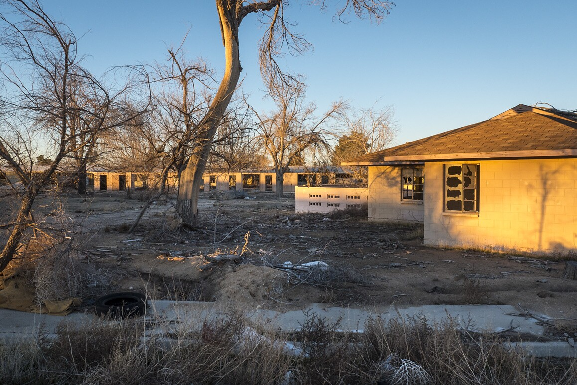 Abandoned base housing for the defunct George Air Force Base in Victorville, CA. Photo: Kim Stringfellow.