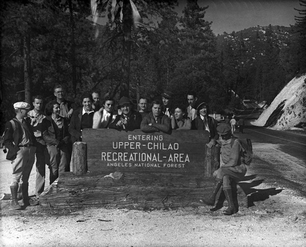 Roamer Hiking Club at Upper Chilao Recreational Area in Angeles National Forest, circa 1930. Courtesy of the Los Angeles Area Chamber of Commerce Collection, USC Libraries.