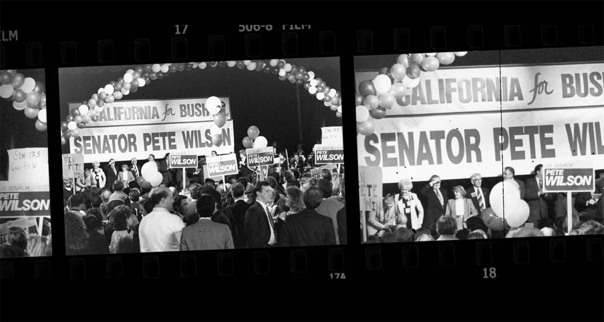 "Senator Pete Wilson campaigning | Still from ""187"""