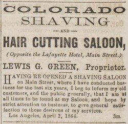 Lewis Green's 1864 ad in the Los Angeles Star for his 'Hair Cutting Saloon'.