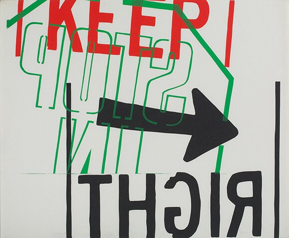 &quot;left,&quot; 1967. Silkscreen print on paper. 29 7/8 x 36 inches. | Collection: Corita Art Center, Immaculate Heart Community, Los Angeles, CA. Photograph by Arthur Evans, courtesy of the Tang Museum at Skidmore College.<br />