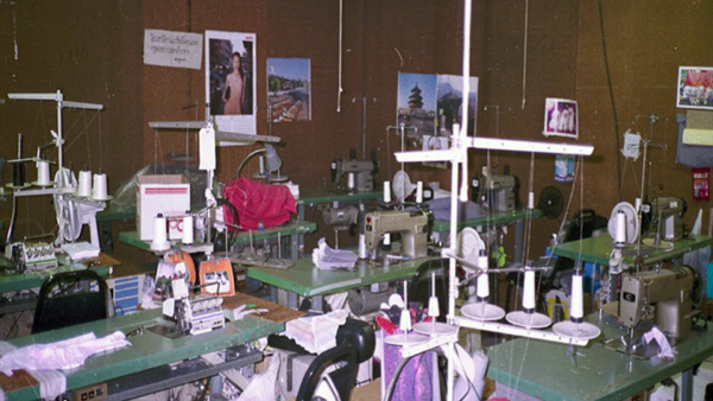 The working conditions of the El Monte sweatshop operation in 1995, following a raid by state and federal agencies. | Photo: Philip Bonner